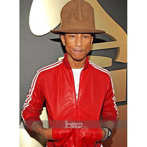 Pharrell Williams 3 Stripe Red Leather Jacket