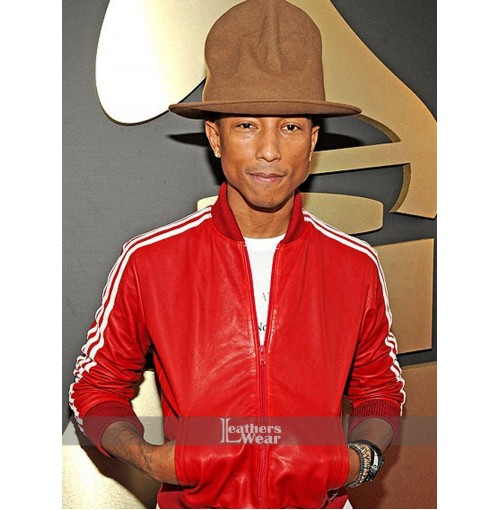 Pharrell Williams 3 Stripe Red Leather Jacket
