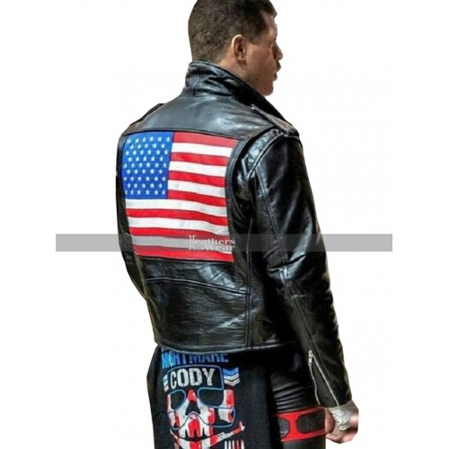 Cody Rhodes American Flag Motorcycle Leather Jacket