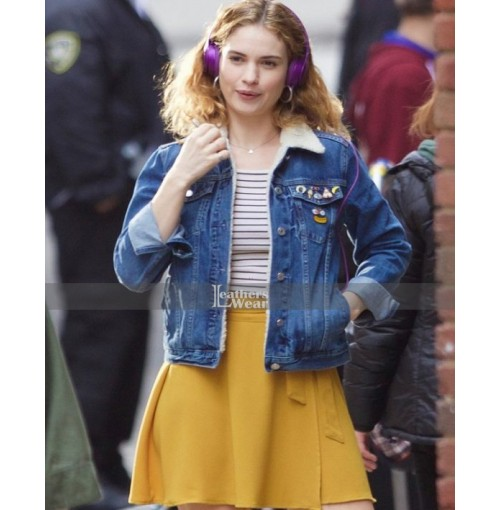 Baby Driver Lily James (Deborah) Blue Fur Jacket