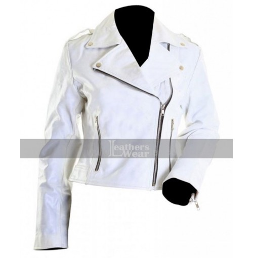 Brando White Motorcycle Ladies Rider Leather Jacket