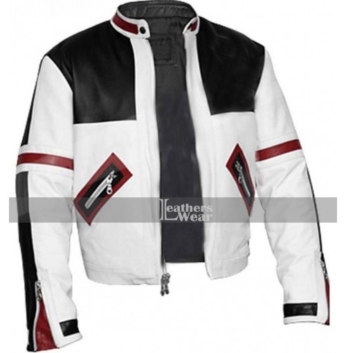 Chaser Box White & Black Biker Leather Jacket