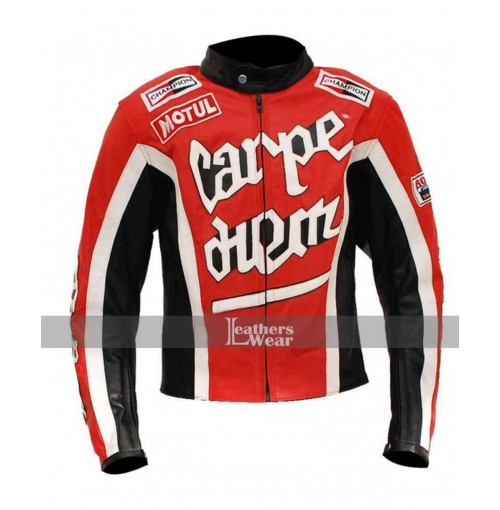 Carpe Diem Crazy Horse Red Riding Motorcycle Jacket