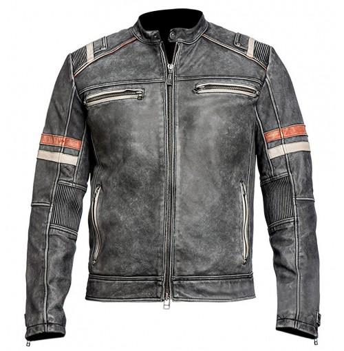 Men's Vintage Cafe Racer Retro Moto Distressed Jacket