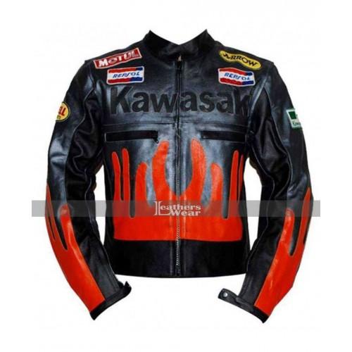 Kawasaki Fire Racing Black & Orange Leather Jacket