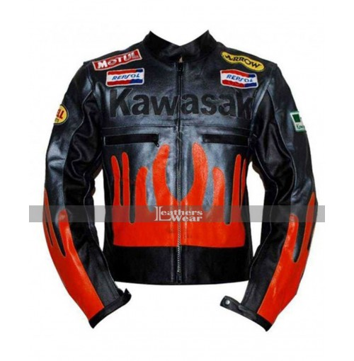 Kawasaki Fire Racing Black & Orange Leather Jacket