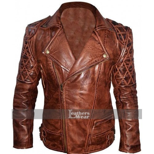 Rustic Vintage Quilted Motorcycle Jacket