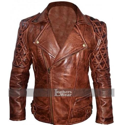 Rustic Vintage Quilted Motorcycle Jacket