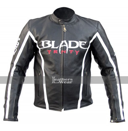Blade Trinity Motorcycle Black Leather Jacket