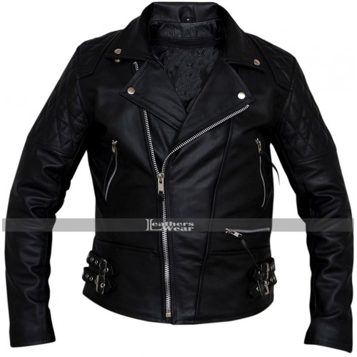 Classic Diamond Biker Motorcycle Black Leather Jacket
