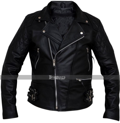 Classic Diamond Biker Motorcycle Black Leather Jacket