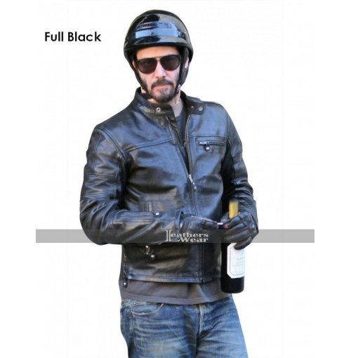 KRGT-1 Keanu Reeves Black Motorcycle Leather Jacket