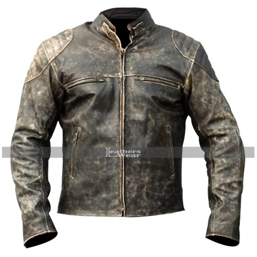 Mens Motorcycle Distressed Hooligan Leather Jacket