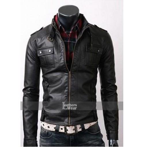 Mens Strap Pocket Slim Fit Black Biker Leather Jacket