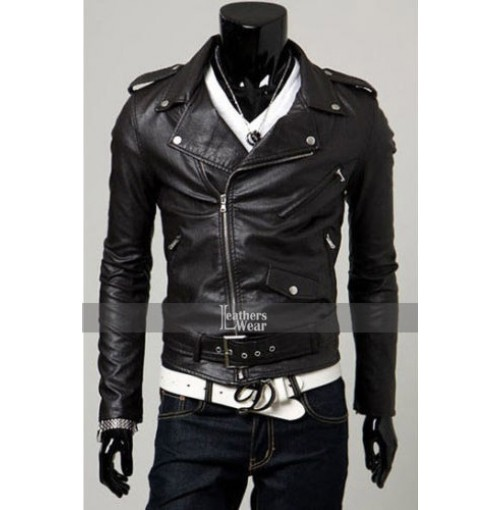 Slim Fit Belted Rider Black Leather Jacket