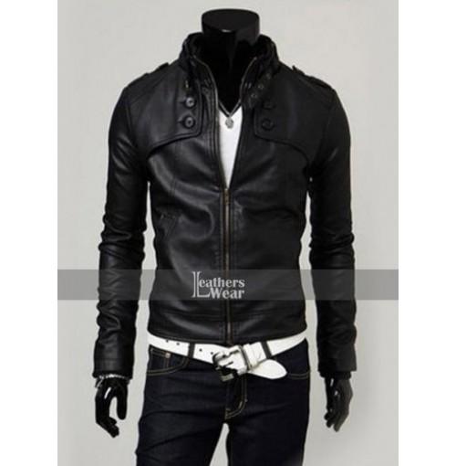 Slim Fit Button Pocket Black Zipper Leather Jacket