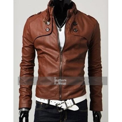 Slim Fit Button Pocket Brown Zipper Leather Jacket