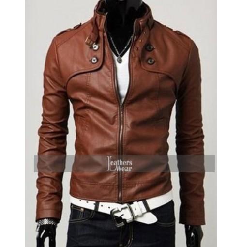 Slim Fit Button Pocket Brown Zipper Leather Jacket