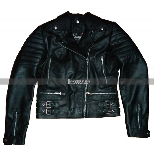 Amber Rose Biker Black Leather Jacket