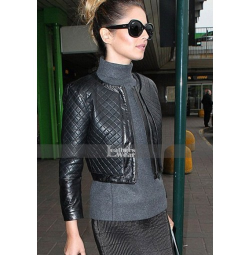 Cheryl Cole Arrives For Milan Fashion Week Quilted Jacket