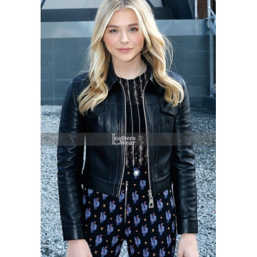 Chloe Grace Moretz Black Leather Jacket