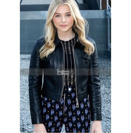 Chloe Grace Moretz Black Leather Jacket