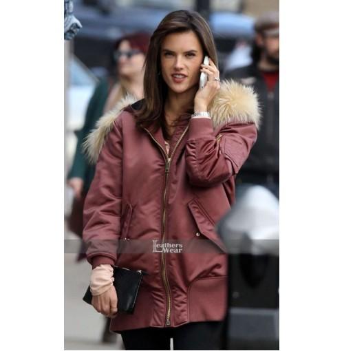 Daddys Home 2 Alessandra Ambrosio (Karen) Fur Collar Pink Jacket