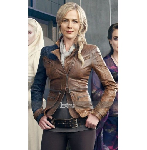 Julie Benz Defiance Amanda Rosewater Brown Leather Jacket