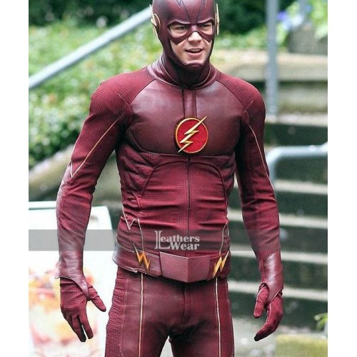The Flash Grant Gustin (Berry Allen) Red Leather Jacket