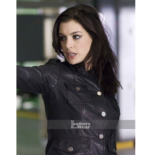 Get Smart Anne Hathaway (Agent 99) Black Leather Jacket