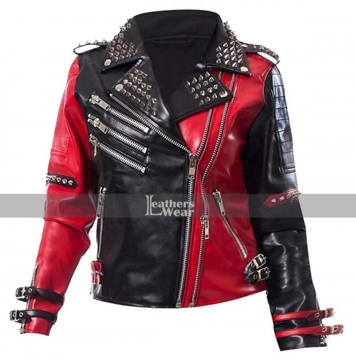 Harley Quinn Asylum Biker Black Red Jacket
