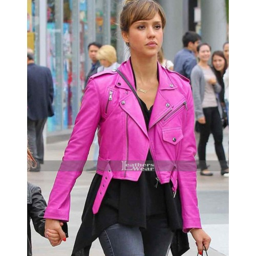 Jessica Alba Pink Leather Jacket