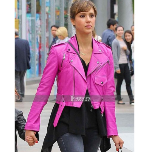 Jessica Alba Pink Leather Jacket