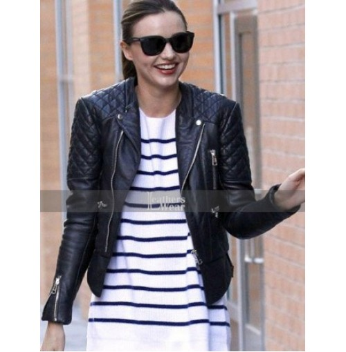 Miranda Kerr Quilted Biker Leather Jacket