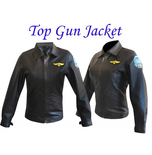 Top Gun Kelly McGillis (Charlie) Flight Black Leather Jacket