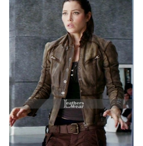 Total Recall Jessica Biel (Melina) Brown Jacket