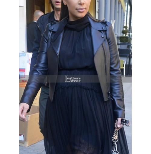 Kim Kardashian Trendy Black Biker Leather Jacket