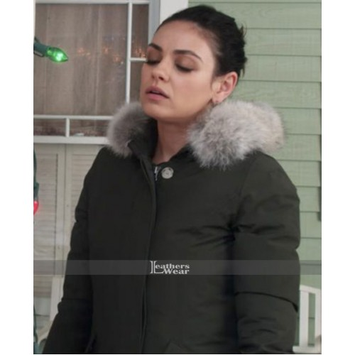A Bad Moms Christmas Mila Kunis (Amy) Fur Collar Cotton Jacket