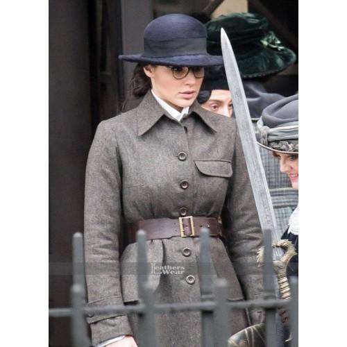 Diana Prince Wonder Woman Gal Gadot Grey Coat