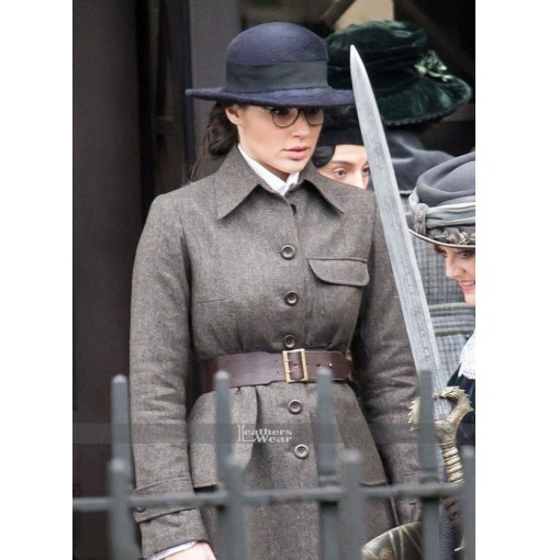 Diana Prince Wonder Woman Gal Gadot Grey Coat