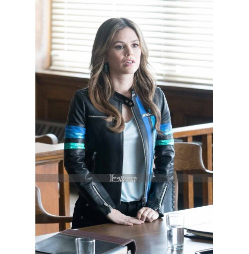 Take Two Rachel Bilson Blue Bands Leather Jacket