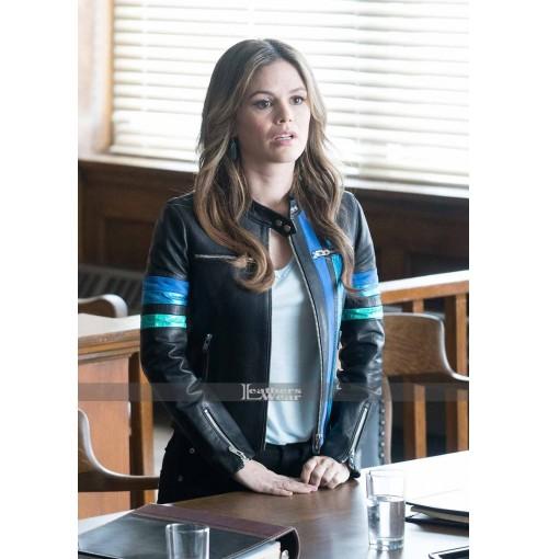 Take Two Rachel Bilson Blue Bands Leather Jacket