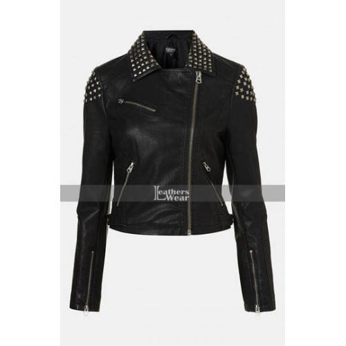 WWE Paige NXT Black Studded Biker Jacket