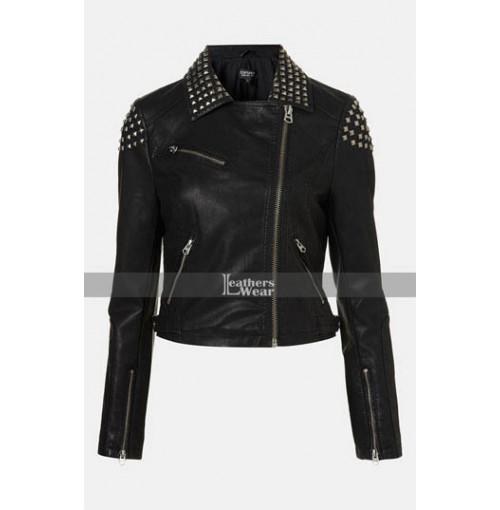 WWE Paige NXT Black Studded Biker Jacket