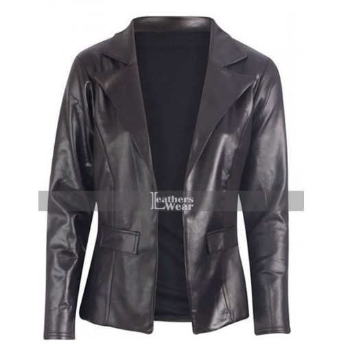 Joy Jennifer Lawrence (Mangano) Black Leather Jacket