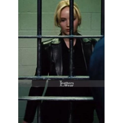 Joy Jennifer Lawrence (Mangano) Black Leather Jacket