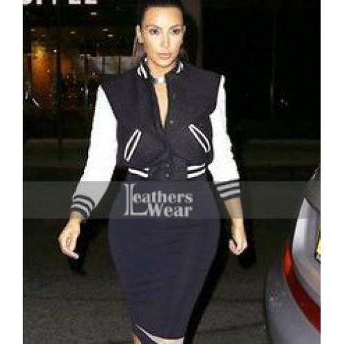 Kim Kardashian Simone Varsity Bomber Jacket