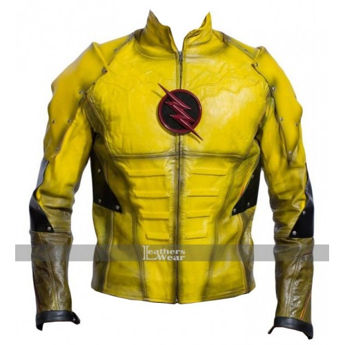 Superhero Reverse Flash Leather Jacket Costume