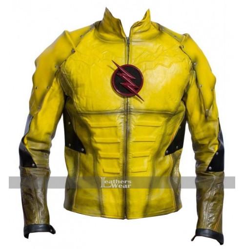 Superhero Reverse Flash Leather Jacket Costume