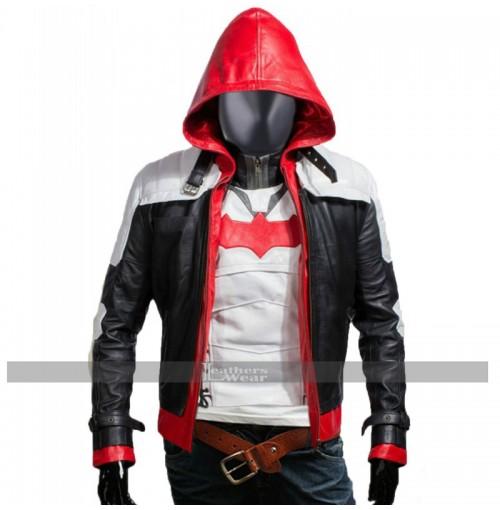 Batman Arkham Knight Game Red Hood Leather Jacket Costume